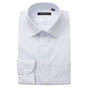 ドレスシャツ/長袖/メンズ/NON IRON STRETCH/ワイドカラードレスシャツ ストライプ 〔EC・BASIC〕 サックスブルー×ホワイト|uktsc