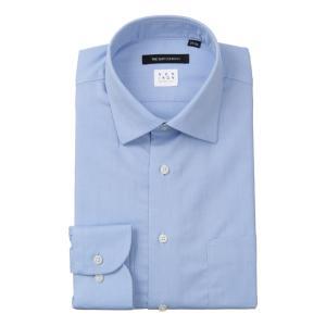 ドレスシャツ/長袖/メンズ/NON IRON STRETCH/ワイドカラードレスシャツ 織柄 〔EC・BASIC〕 ブルー|uktsc
