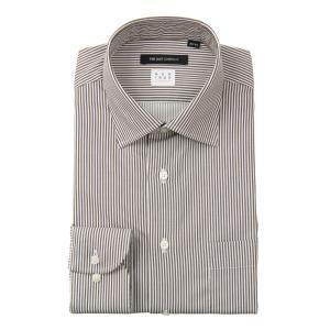 ドレスシャツ/長袖/メンズ/NON IRON STRETCH/ワイドカラードレスシャツ ストライプ 〔EC・BASIC〕 ブラウン×ホワイト|uktsc