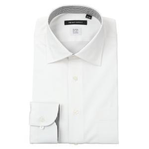 ドレスシャツ/長袖/メンズ/SUPER EASY CARE/ワイドカラードレスシャツ シャドーストライプ〔EC・BASIC〕 ホワイト|uktsc