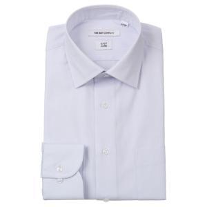ドレスシャツ/長袖/メンズ/ワイドカラードレスシャツ シャドーストライプ 〔EC・FIT〕 グレイッシュブルー|uktsc