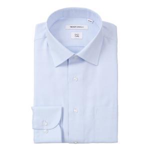 ドレスシャツ/長袖/メンズ/ワイドカラードレスシャツ 織柄 〔EC・FIT〕 ブルー×ホワイト|uktsc