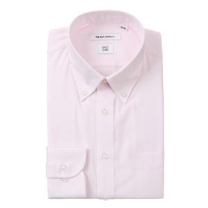 ドレスシャツ/長袖/メンズ/ボタンダウンカラードレスシャツ ストライプ 〔EC・FIT〕 ピンク uktsc