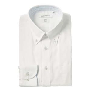 ドレスシャツ/長袖/メンズ/SUPER EASY CARE/ボタンダウンカラードレスシャツ 織柄 〔EC・FIT〕 ホワイト|uktsc