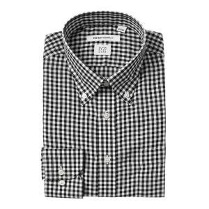 ドレスシャツ/長袖/メンズ/SUPER EASY CARE/ボタンダウンカラードレスシャツ ギンガムチェック〔EC・FIT〕 ブラック×ホワイト|uktsc