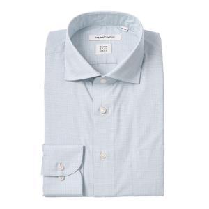 ドレスシャツ/長袖/メンズ/SUPER EASY CARE/ホリゾンタルカラードレスシャツ 織柄 〔EC・FIT〕 ブルー×ホワイト|uktsc