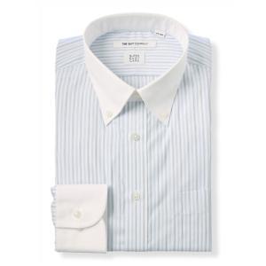 ドレスシャツ/長袖/メンズ/SUPER EASY CARE/クレリック&ボタンダウンカラードレスシャツ 〔EC・FIT〕 ホワイト×ブルー×ブラック|uktsc