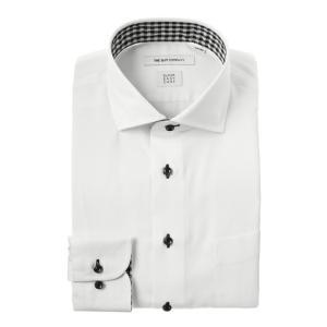 ドレスシャツ/長袖/メンズ/SUPER EASY CARE/ホリゾンタルカラードレスシャツ 織柄 〔EC・FIT〕 ホワイト|uktsc