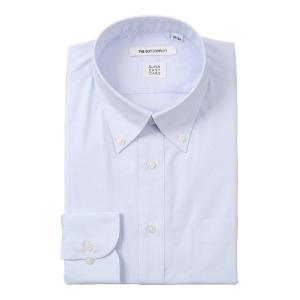 ドレスシャツ/長袖/メンズ/SUPER EASY CARE/デュエボットーネ&ボタンダウンカラードレスシャツ〔EC・FIT〕 サックスブルー×ホワイト|uktsc