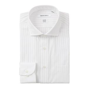 ドレスシャツ/長袖/メンズ/SUPER EASY CARE/クレリック&ホリゾンタルカラードレスシャツ〔EC・FIT〕 ホワイト×ライトグレー|uktsc