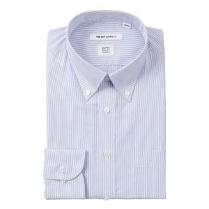ドレスシャツ/長袖/メンズ/SUPER EASY CARE/ボタンダウンカラードレスシャツ ストライプ〔EC・FIT〕 サックスブルー×ホワイト|uktsc