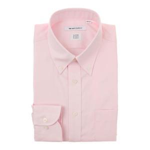 ドレスシャツ/長袖/メンズ/SUPER EASY CARE/ボタンダウンカラードレスシャツ 無地 〔EC・FIT〕 ピンク|uktsc