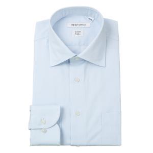 ドレスシャツ/長袖/メンズ/SUPER EASY CARE/ワイドカラードレスシャツ 織柄 〔EC・FIT〕 サックスブルー×ホワイト|uktsc