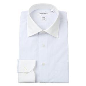 ドレスシャツ/長袖/メンズ/SUPER EASY CARE/クレリック&ワイドカラードレスシャツ チェック 〔EC・FIT〕 ホワイト×サックスブルー|uktsc