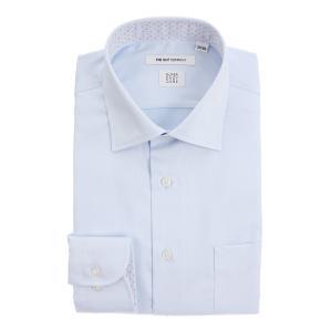 ドレスシャツ/長袖/メンズ/SUPER EASY CARE/ワイドカラードレスシャツ 織柄 〔EC・FIT〕 サックスブルー|uktsc