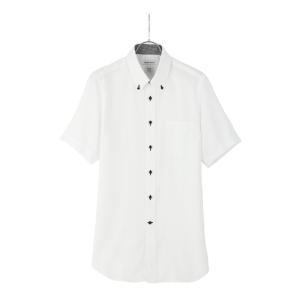 ドレスシャツ/半袖/メンズ/半袖・ICE COTTON/ボタンダウンカラードレスシャツ 織柄 〔EC・FIT〕 ホワイト|uktsc