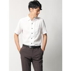 ドレスシャツ/半袖/メンズ/半袖・ICE COTTON/ワンピースカラードレスシャツ 織柄 〔EC・FIT〕 ホワイト|uktsc