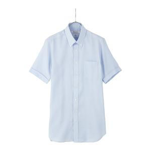 ドレスシャツ/半袖/メンズ/半袖・ICE COTTON/ボタンダウンカラードレスシャツ 織柄 〔EC・FIT〕 ブルー|uktsc