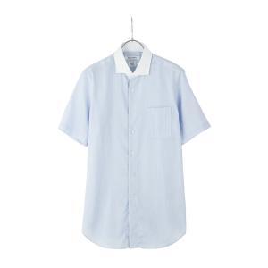 ドレスシャツ/半袖/メンズ/半袖・ICE COTTON/クレリック&ホリゾンタルカラードレスシャツ 〔EC・FIT〕 ブルー×ホワイト|uktsc