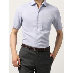 ドレスシャツ/半袖/メンズ/半袖・ICE COTTON/ワンピースカラードレスシャツ 織柄 〔EC・FIT〕 ブルー×ホワイト|uktsc
