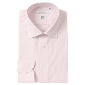 ドレスシャツ/長袖/メンズ/SUPER EASY CARE/ワイドカラードレスシャツ ストライプ 〔EC・FIT〕 ピンク×ホワイト|uktsc