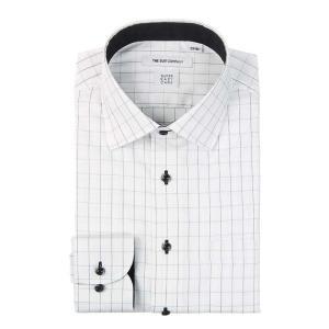ドレスシャツ/長袖/メンズ/SUPER EASY CARE/ワイドカラードレスシャツ チェック 〔EC・FIT〕 ホワイト×ブラック|uktsc