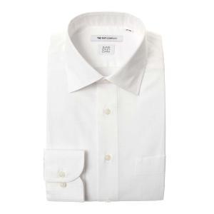 ドレスシャツ/長袖/メンズ/SUPER EASY CARE/ワイドカラードレスシャツ 織柄 〔EC・FIT〕 ホワイト|uktsc