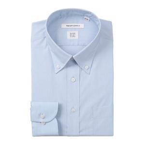 ドレスシャツ/長袖/メンズ/SUPER EASY CARE/ボタンダウンカラードレスシャツ 織柄 〔EC・FIT〕 サックスブルー|uktsc