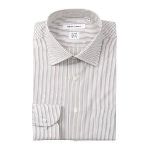 ドレスシャツ/長袖/メンズ/SUPER EASY CARE/ワイドカラードレスシャツ ストライプ 〔EC・FIT〕 ホワイト×ベージュ×ブラウン|uktsc