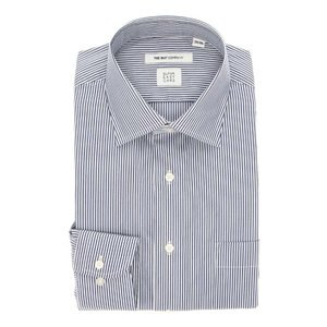 ドレスシャツ/長袖/メンズ/SUPER EASY CARE/ワイドカラードレスシャツ ストライプ 〔EC・FIT〕 ネイビー×ホワイト|uktsc