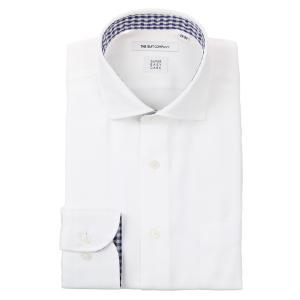 ドレスシャツ/長袖/メンズ/ICE COTTON/ホリゾンタルカラードレスシャツ 織柄 〔EC・FIT〕 ホワイト|uktsc