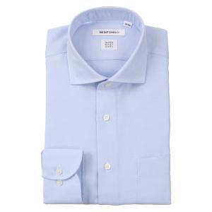 ドレスシャツ/長袖/メンズ/ICE COTTON/ホリゾンタルカラードレスシャツ 織柄 〔EC・FIT〕 サックスブルー|uktsc