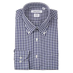 ドレスシャツ/長袖/メンズ/ICE COTTON/ボタンダウンカラードレスシャツ ギンガムチェック 〔EC・FIT〕 ネイビー×ホワイト|uktsc