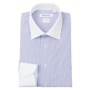 ドレスシャツ/長袖/メンズ/NON IRON STRETCH/クレリック&ワイドカラードレスシャツ〔EC・FIT〕 ホワイト×ブルー|uktsc