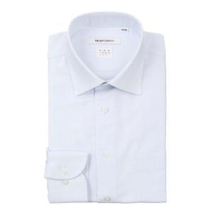 ドレスシャツ/長袖/メンズ/NON IRON STRETCH/ワイドカラードレスシャツ 織柄 〔EC・FIT〕 ブルー×ホワイト|uktsc