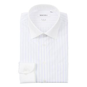 ドレスシャツ/長袖/メンズ/NON IRON STRETCH/クレリック&ワイドカラードレスシャツ ストライプ〔EC・FIT〕 ホワイト×ブルー|uktsc