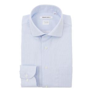 ドレスシャツ/長袖/メンズ/NON IRON STRETCH/ホリゾンタルカラードレスシャツ 織柄 〔EC・FIT〕 ホワイト×ブルー|uktsc