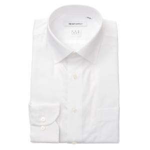 ドレスシャツ/長袖/メンズ/NON IRON STRETCH/ワイドカラードレスシャツ 織柄 〔EC・FIT〕 ホワイト|uktsc