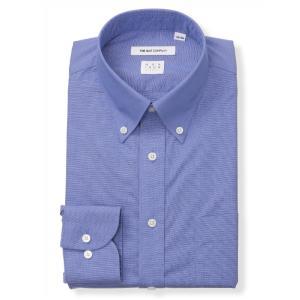 ドレスシャツ/長袖/メンズ/NON IRON STRETCH/ボタンダウンカラードレスシャツ 織柄 〔EC・FIT〕 ブルー×ホワイト|uktsc