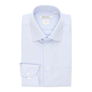 ドレスシャツ/長袖/メンズ/NON IRON STRETCH/ワイドカラードレスシャツ 織柄 〔EC・FIT〕 サックスブルー×ホワイト|uktsc