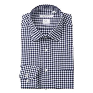ドレスシャツ/長袖/メンズ/NON IRON STRETCH/ワイドカラードレスシャツ ギンガムチェック 〔EC・FIT〕 ネイビー×ホワイト|uktsc