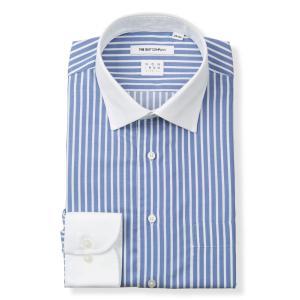ドレスシャツ/長袖/メンズ/NON IRON STRETCH/クレリック&ワイドカラードレスシャツ ストライプ〔EC・FIT〕 ブルー×ホワイト|uktsc