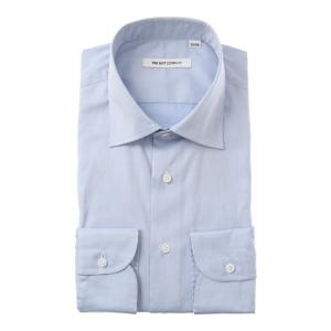ドレスシャツ/長袖/メンズ/ワイドカラードレスシャツ 無地 サックスブルー