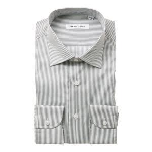 ドレスシャツ/長袖/メンズ/ワイドカラードレスシャツ ストライプ ミディアムグレー×ホワイト