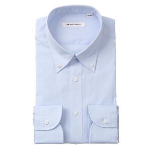 ドレスシャツ/長袖/メンズ/20周年記念アイテム/ボタンダウンカラードレスシャツ 織柄 ブルー