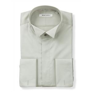 ドレスシャツ/長袖/メンズ/FORMAL/ダブルカフス&ウイングカラードレスシャツ 無地 〔FIT〕...