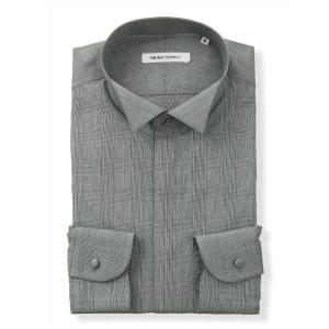 ドレスシャツ/長袖/メンズ/FORMAL/ウイングカラードレスシャツ グレンチェック 〔FIT〕 ミ...