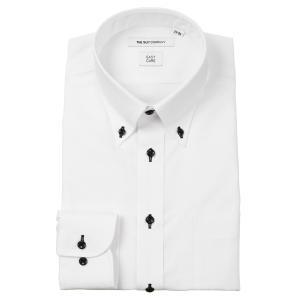 ドレスシャツ/長袖/メンズ/ボタンダウンカラードレスシャツ 織柄 〔EC・FIT〕 ホワイト uktsc
