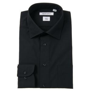 ドレスシャツ/長袖/メンズ/ワイドカラードレスシャツ 無地 〔EC・FIT〕 ブラック|uktsc
