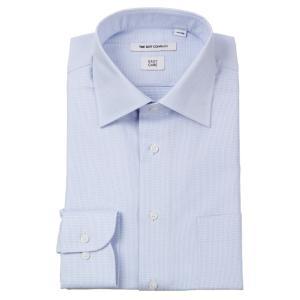 ドレスシャツ/長袖/メンズ/ワイドカラードレスシャツ 織柄 〔EC・FIT〕 サックスブルー×ホワイト|uktsc